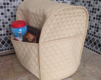 Coffee Maker or Food Processor Cover with Storage Pockets Khaki Ready To Ship