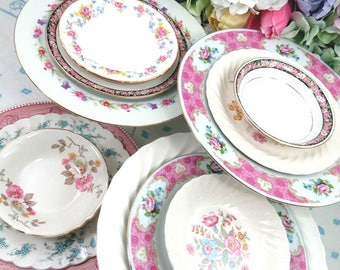 20 Pc Vintage Mismatched Pink Floral China Dinnerware Set, 5 Pc Place Settings ~ Dinner, Salad Plates, Fruit/Dessert Bowls, Cups & Saucers