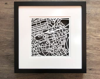 Edinburgh, Scotland hand cut map ORIGINAL, 10x10
