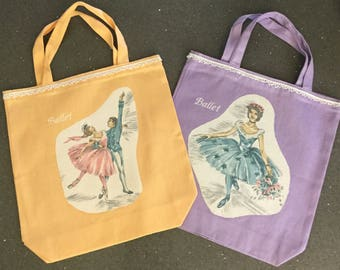 Ballet Tote with Vintage Fabric Decals w/ Complimentary Personalization