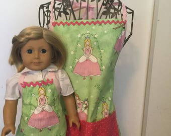 """Girl and Doll Apron Set - American Girl Doll, 18"""" Dolls"""