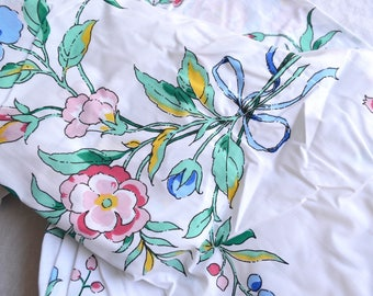 Vintage Bed Sheet - Pink and Aqua Vine Flowers - King Fitted NOS