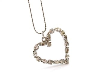 AUSTRIA Rhinestone Heart Necklace | Signed Clear Rhinestone Pendant, 17 Inch Chain | Vintage 1950s Jewelry