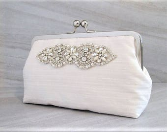 Classic Rhinestone And Pearl Clutch,Bridal Accessories,Ivory Wedding Clutch,Bridesmaid Clutch, Bride Purse