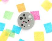 Moon Silver Glitter Brooch, Acrylic Jewellery, Happy Space Accessory, Glitter Cute Pin, hannahdoodle Kawaii