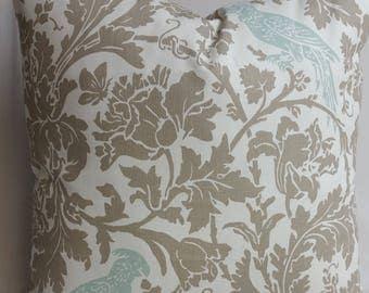 """Decorative throw pillow, bird, powder blue, ecru taupe, white cotton 20"""" x 20"""""""