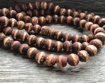 8mm Matte Brown Tibetan Etched Agate, Etched Agate beads, Etched Agate, Tibetan Agate, bead strands, gemstones, gemstone bead strands