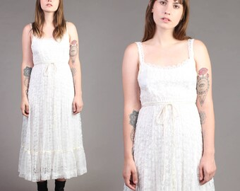 vintage SCALLOPED LACE floral sheer prairie hippie boho wedding sun midi dress 70s 1970s small extra small XS S