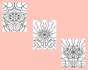 Set of Three Flower Themed Coloring Patterns Digital Downloads Art Therapy