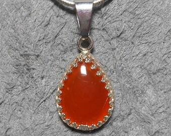 Tangerine chalcedony drop cabochon pendant, 18 x 13 mm stone, silver plated filigree bezel setting
