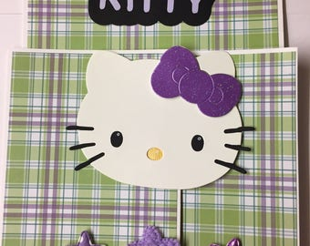 Premade HELLO KITTY Purple Paper Piecing Photo Mat Set For Scrapbook Album Page