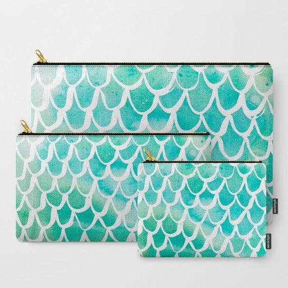 Aqua Mermaid Zippered pouch - Zipper bag - Aqua pencil case - Mermaid Ipad bag - Art pouch - Pencil bag - Aqua Watercolor Makeup bag