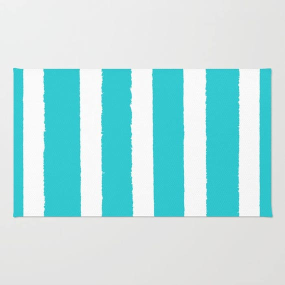 Aquamarine and White striped rug - Area Rug - Throw Rug - Cyan Carpet - Accent Rug - Floor Rug - Stripe Rug - 2 x 3 rug - 3 x 5 rug - 4 x 6