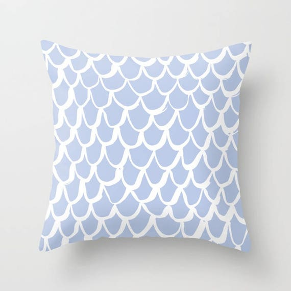 Periwinkle Mermaid Throw Pillow . Blue and White Pillow . Periwinkle Cushion . Blue Mermaid Pillow . Mermaid Cushion 14 16 18 20 inch