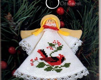 Counted Cross Stitch Angel Ornament Kit Clothespin Body Yellow Yarn Hair Cardboard Wings 3.75 x 3.75 Craft Pattern