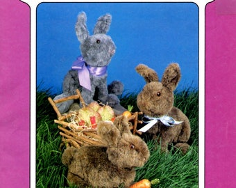 """Priscilla 12"""" and Baby Bunny Rabbit 8"""" Polyester Fiberfill Stuffed Toy Soft Sculpture Sewing Craft Pattern"""
