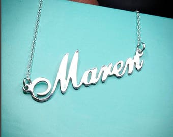 Double Thick Name Necklace with Any Name up to 13 Letters, solid sterling silver,with ROLO chain