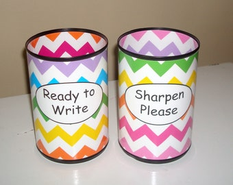 Rainbow Chevron Desk Accessories, Pencil Holder Set, Tin Can Pencil Holder with Labels, Classroom Organization, Teacher Gift   983