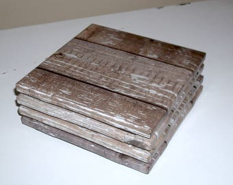 Brown and Gray Coasters with Image of Reclaimed Wood, Ceramic Tile Coasters, Cottage Chic Home Decor, Housewarming Gift, Rustic Coasters 041