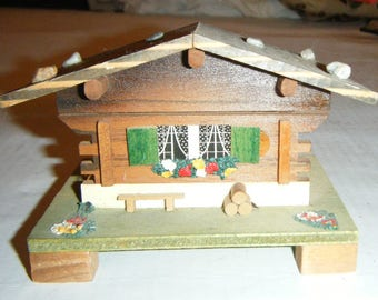 Vintage Swiss Chalet Music Box MAPSA Swiss Movement Edelweiss Log Cabin Switzerland Rustic Decor Trinket Box Treasure Collectible Price