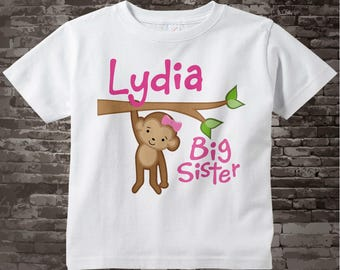 Personalized Big Sister Monkey Tee Shirt or Gerber Onesie 01302012a