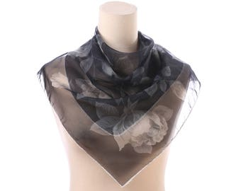 Vintage NYLON Scarf 50s Sheer Black Floral Roses Print Neck Kerchief Transparent Retro Hand Rolled Edges Womens Gift