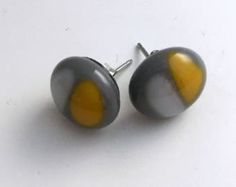 Yellow and Grey Fused Glass Stud Earrings