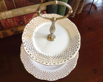 Vintage Tiered Cake Stand with Matching Gold-trimmed Plates