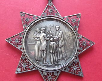 Austrian Silver Baptismal Antique Religious Medal Filigree Star Signed Heuberger Dated 1821