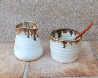 Cream jug creamer and sugar bowl set hand thrown stoneware handmade pottery wheelthrown ceramic