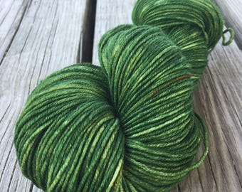 Hand Dyed DK Yarn Everglades Excursion green hand painted yarn 274 yards handdyed dk sport superwash merino wool swm spring green grass