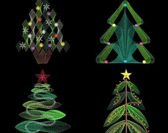 CHRISTMAS TREE MEDLEY 3 (6inch) - 12 Machine Embroidery Designs Instant Download 6x10(AzEB)
