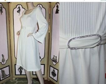 Summer Sale 20% Off Stunning Vintage 1970's Cream Cocktail Dress with Billow Sleeves and Rhinestone Belt. Medium.