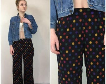 SUMMER SALE 90s Wide Leg Pants, Wide Leg Cropped Pant, Printed Trousers, Daisy Print, Normcore, Baggy Pants, Baggy Trousers, Flowy Summer Pa