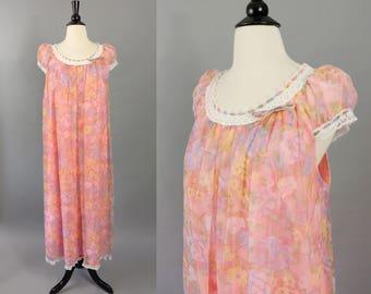 vintage 60s nightgown || 1960s Slumber Suzy bright peach floral babydoll nightgown || puffed sleeve cap sleeve nylon nightie nighty | medium