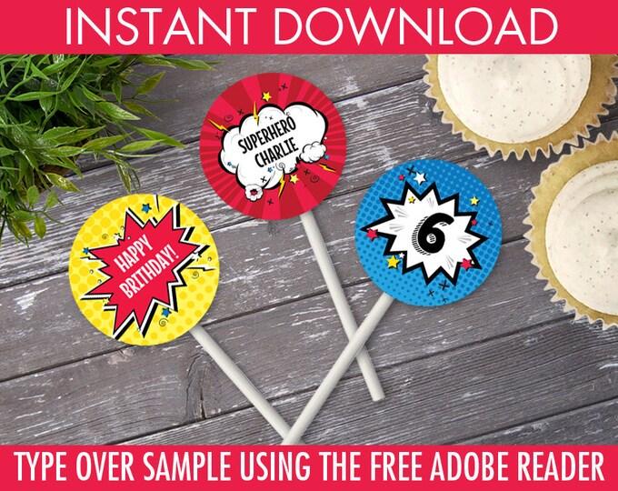 "Superhero 2"" Cupcake Circles, Superhero Party, Superhero Birthday, 2"" Cupcake Toppers | DIY Instant Download PDF Printable"