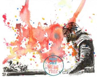 Star Wars Movie Poster Art Kylo Ren Print From Original Watercolor Painting - Star Wars print 8 X 10 in. Star Wars Poster Print Movie Poster