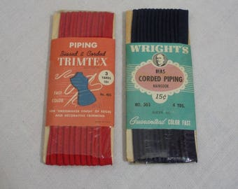 Vintage Wrights Red & Navy Piping Trim - 2 Packages