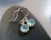 Aqua chalcedony earrings, silver dangles, everyday wear, affordable jewelry, for sister, for mother, for grandma, 30th birthday gift