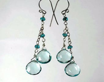 Blue Drop Earrings London Blue and Aquamarine Drop Earrings Blue Quartz Earrings Aquamarine Earings Sterling Silver