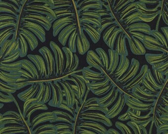 Cotton + Steel - Rifle Paper Co. - Menagerie - RAYON LAWN Monsterra in Midnight