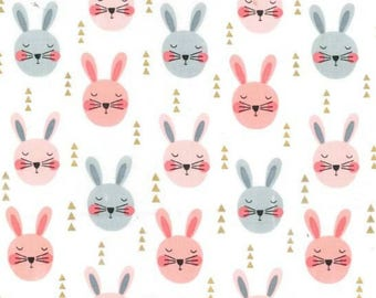 Michael Miller - Glitter Critters Collection - Ruminating Rabbits in Peach Metallic