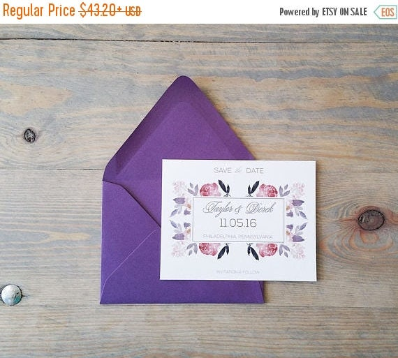 Boho Save the Date, botanical save the date, save the date card, watercolor save the date, floral save the date, roses save the date, purple