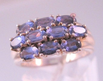 SALE & FREE SHIPPING 2.5ct Iolite Cluster Sterling Silver Ring Size 9 Vintage Jewelry Jewellery