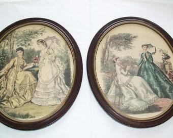 2 Framed French Prints, 1870 Fashion Prints, Godey ladies, 1950s or older