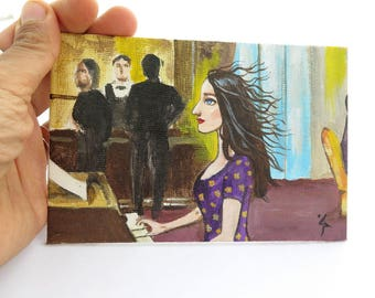 Original Small Acrylic Painting, Woman Pianist Portrait, Atmosphere Painting, Small Art, Collectable Art