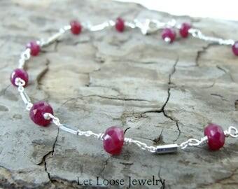 Dainty ruby bracelet, genuine gemstones sterling silver Argentium silver, true red July birthstone, handmade, Let Loose Jewelry, under 75