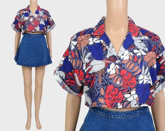 Vintage 80s Crop Top | Hawaiian Shirt | Tropical Leaf Novelty Print Blouse | Cropped Shirt | Short Sleeve Oversize Shirt | Small Medium S M