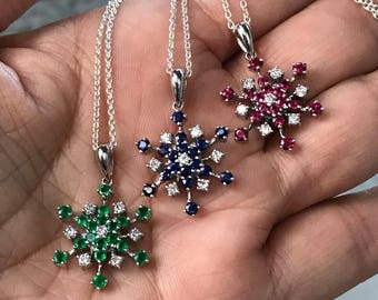 Snowflakes, Precious Gemstone Pendant, Ruby Necklace, Sapphire Necklace, Emerald Necklace, Snowflake Pendant, Natures Splendour Jewelry