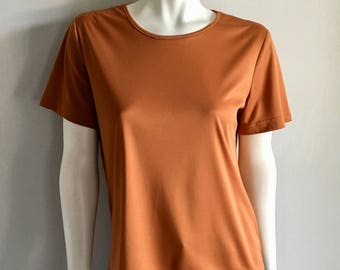Vintage Women's 70's Gold, Polyester, Blouse, Short Sleeve (M)